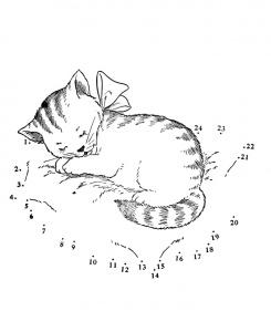 plansa de colorat - pisicuta somnoroasa