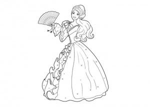 desene de colorat cu printesa barbie 2