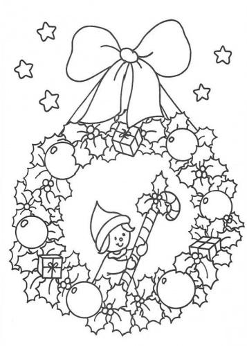 desene de colorat - coronita de craciun 5