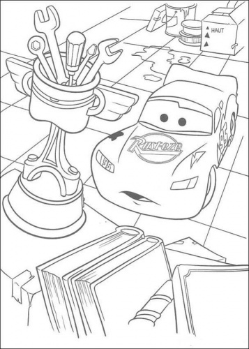 Coloring Pages For Bumper Cars : Planse de colorat cu Fulger McQueen