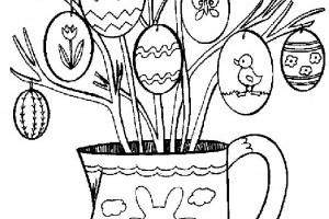 Planse de colorat cu oua pentru Pasti